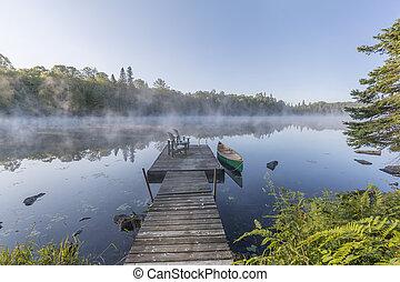 canada, nebbioso, canoa, ontario, -, mattina, bacino, verde