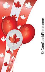 canada, palloni, giorno, illustrazione, felice