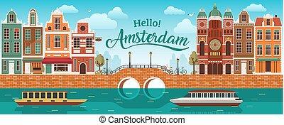 canale, appartamento, olanda, bicicletta, strada., ponte, colorare, panorama, multi, canale, arginamento, amsterdam, fiume, mare, barca