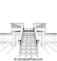 canale, legno, sopra, ponte