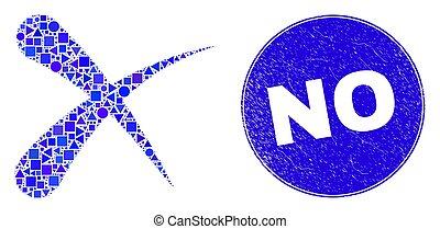 cancellare, no, blu, afflizione, sigillo, mosaico