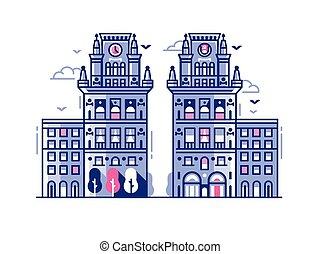 cancelli, appartamento, punto di riferimento, città, bielorussia, minsk