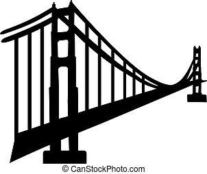 cancello, dorato, silhouette, ponte