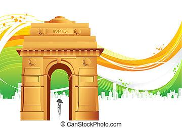 cancello, india, tricolore, fondo