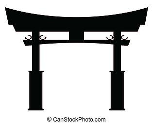 cancello, silhouette, tori