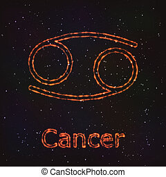cancer., zodiaco, astrologia, simbolo., lucente