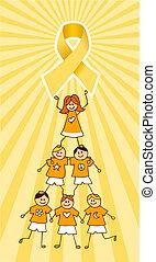 cancro, cima, albero, infanzia, bambini, nastro
