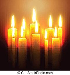 candela, ardendo, vettore