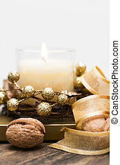 candela, circondato, noci, tape., festivo