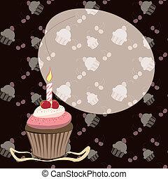 candela, cupcake, ciliegia