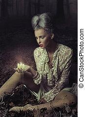 candela, holding donna, triste
