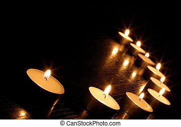 candela, romantico, luce