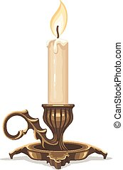 candela, urente, bronzo, candeliere