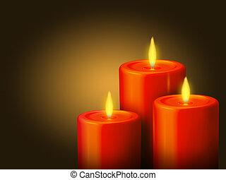 candele, 3, rosso