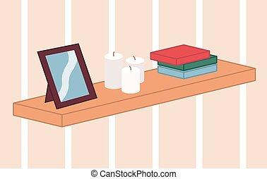 candele, legno, casa, mensola, immagine, tre, colorito, cartone animato, inchiodato, decorazione, parete, scatole, cornice