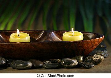 candele, massaggio, terme, pietre