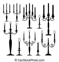 candele, vettore, collezione