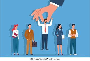 candidato, assunzione, appartamento, carriera, selezionato, gruppo, persona, recruitment., persone, concetto, vettore, datori lavoro, scelta, risorse, processo, futuro, mano, affari, scegliere, scegliere, lavorante, umano