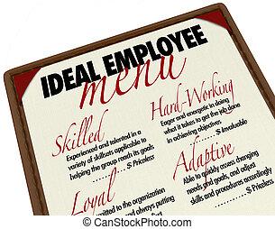 candidato, menu, ideale, lavoro, scegliere, impiegato