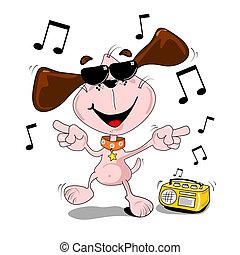 cane, cartone animato, ballo
