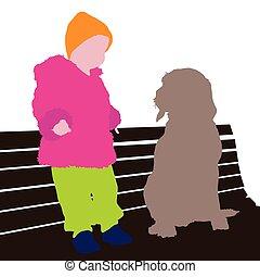 cane, illustrazione, bambino