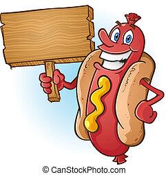 cane, segno, caldo, legno, presa a terra, cartone animato