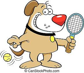 cane, tennis, gioco, cartone animato