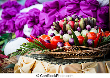 canestro wicker, verdura