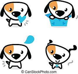 cani, blu, isolato, carino, valentina, set, bianco