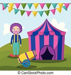 cannone, pagliaccio circo, tenda