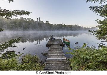 canoa, canada, -, bacino, nebbioso, ontario, mattina, verde