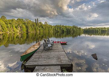 canoa, canada, lago, bacino, ontario, kayak, legato