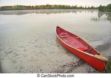 canoa, lago, rosso, calma