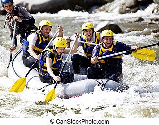 canottaggio, fiume, gruppo