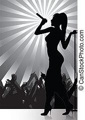 cantante, compiendo, pop, palcoscenico