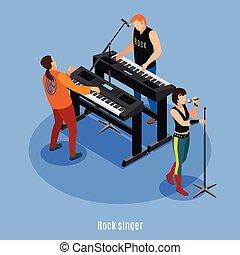 cantante, musicisti, icone, illustrazione, roccia, isometrico, fondo, isolato