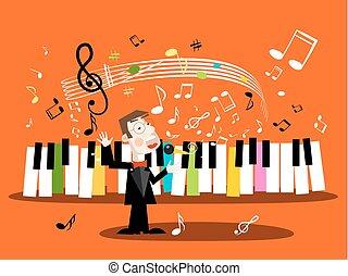 cantante, note., staff., canzone, vettore, musica, tastiera, pianoforte, canto, uomo