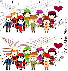 canto, bambini, gruppo