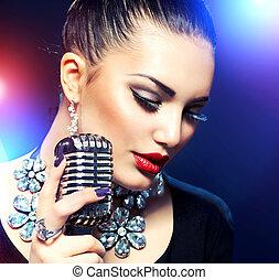 canto, donna, microfono, retro