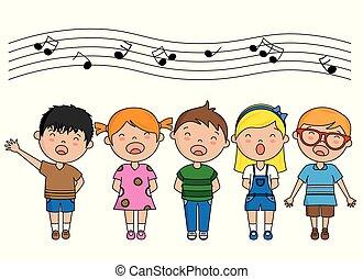 canto, gruppo, bambini