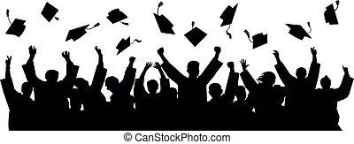 cap., laureati, silhouette, vettore, cappello, lancio, studente liceo, achievements.