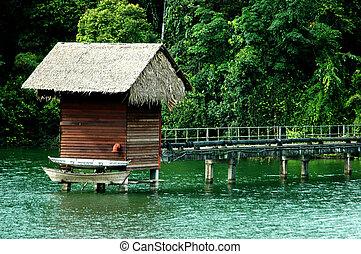 capanna, acqua, canoa
