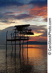 capanna, tramonto, silhouette