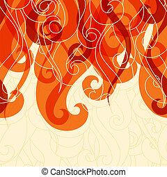 capelli, astratto, riccioli, waves., fondo
