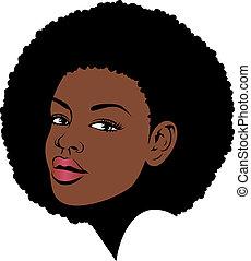 capelli, donna americana, afro