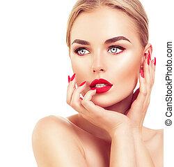 capelli, donna, biondo, unghia, rosso, bello, rossetto, modella