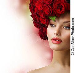 capelli foggiano, modello, rose, ritratto, rosso