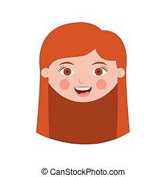 capelli, fronte, ragazza, faccia lunga