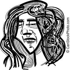 capelli, lungo, uomo