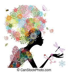 capelli, ragazza, moda, arabesco